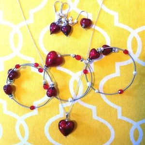Red Envelope Murano Heart Swarovski Crystal Set